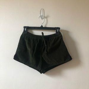 Dark Olive Green Textured Shorts